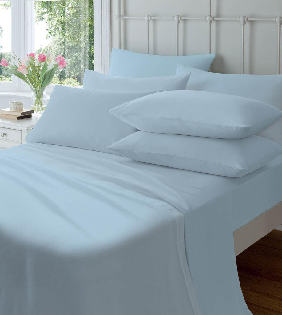 Catherine Lansfield Brushed 100% Cotton Fitted Sheet & Pillowcases - Blue