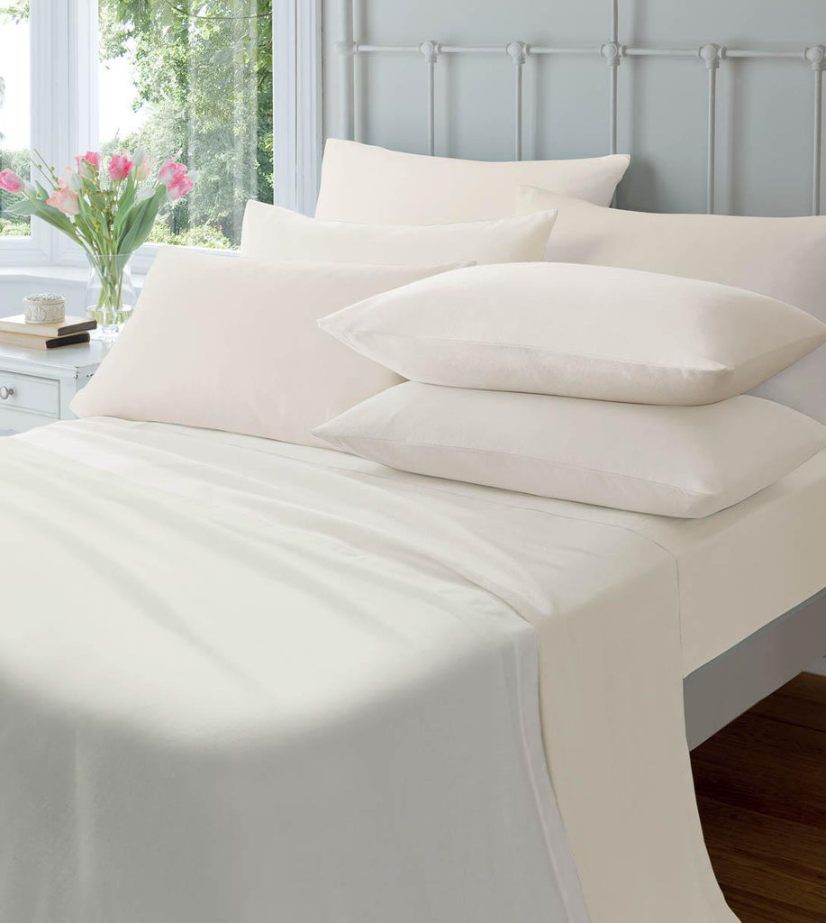 Brushed 100% Cotton Fitted Sheet & Pillowcases - Cream