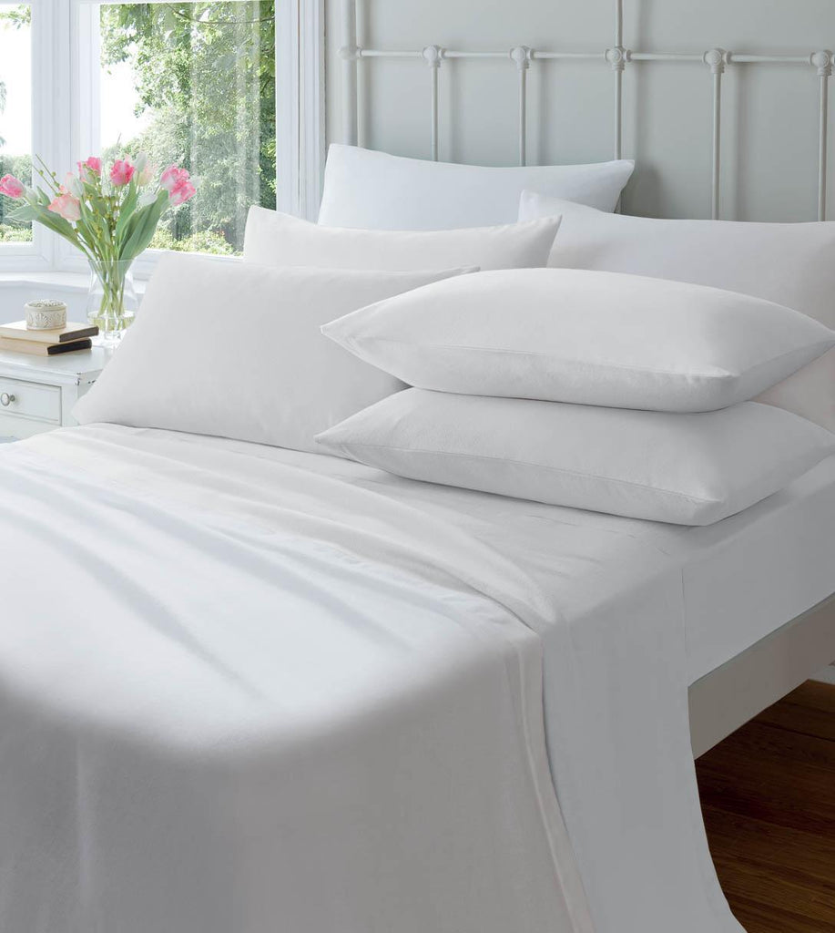 Catherine Lansfield Brushed 100% Cotton Fitted Sheet - White