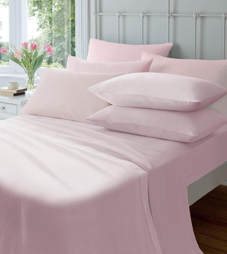 Catherine Lansfield Brushed 100% Cotton Fitted Sheet & Pillowcases - Pink