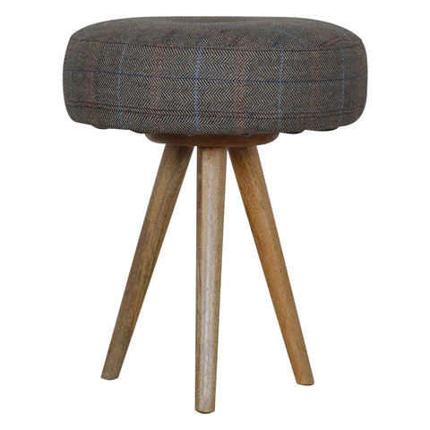 Tripod Stool with Tweed Seat Pad