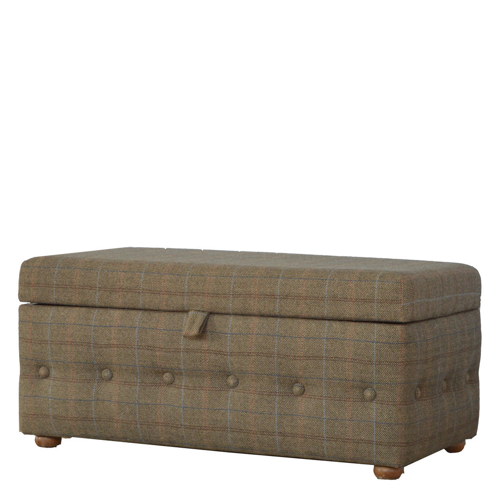 Footstool With Bun Feet & Buttons On All Sides