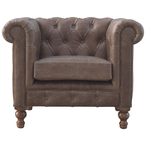 Upholstered Buffalo Hide Leather Arm Chair