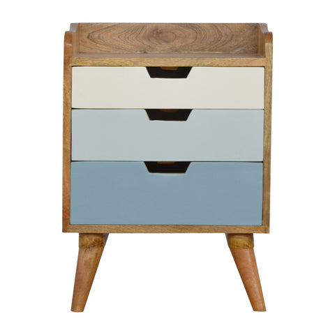Bedside with Blue Hand Painted Cut Out Drawers
