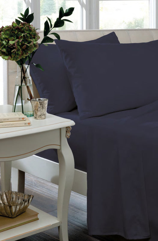 Non Iron Percale Fitted Sheet & Pillowcases - Navy