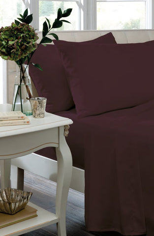Non Iron Percale Fitted Sheet & Pillowcases - Plum