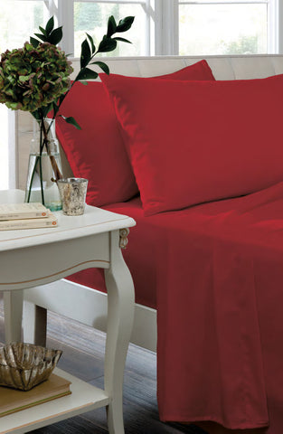 Non Iron Percale Fitted Sheet & Pillowcases - Red