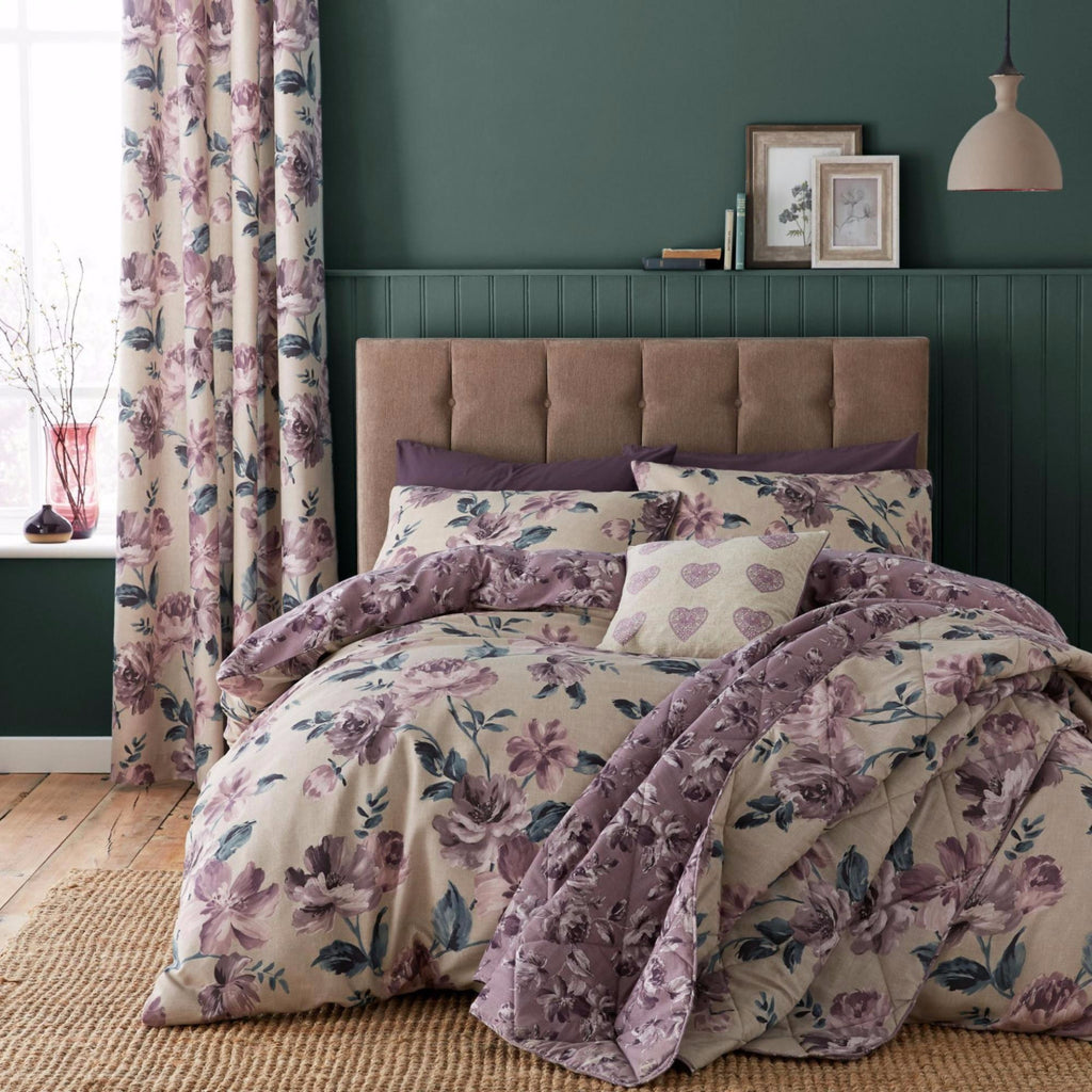 Catherine Lansfield Painted Floral Plum Duvet Set