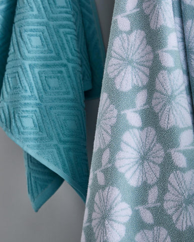 Retro Floral Towels - Duck Egg