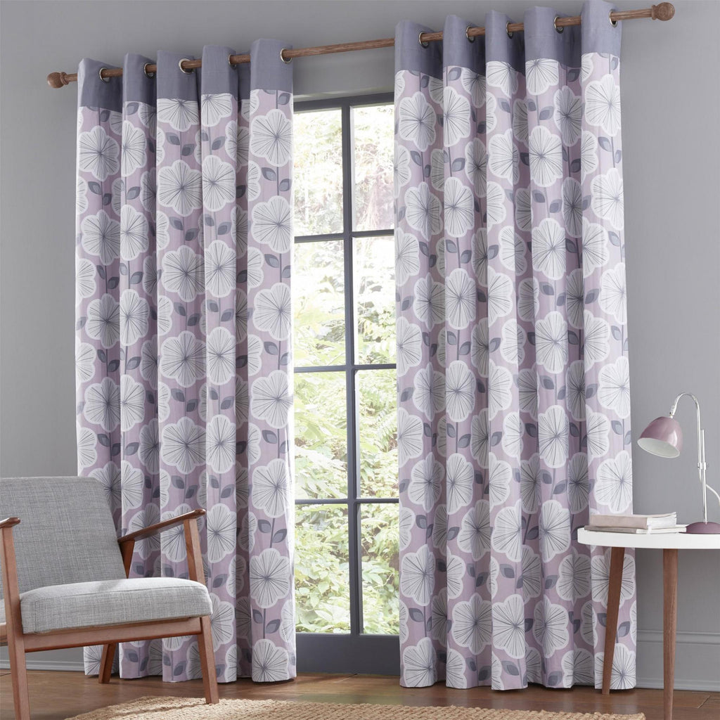 Retro Floral Eyelet Curtains - Heather