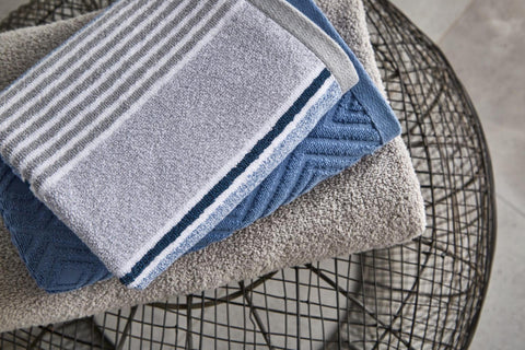 Textured Stripe Towels - Blue