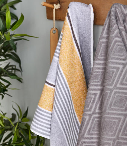 Textured Stripe Towels - Ochre