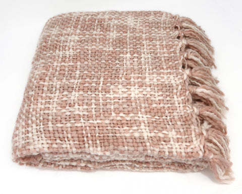 Catherine Lansfield Tonal Weave Throw - Pink