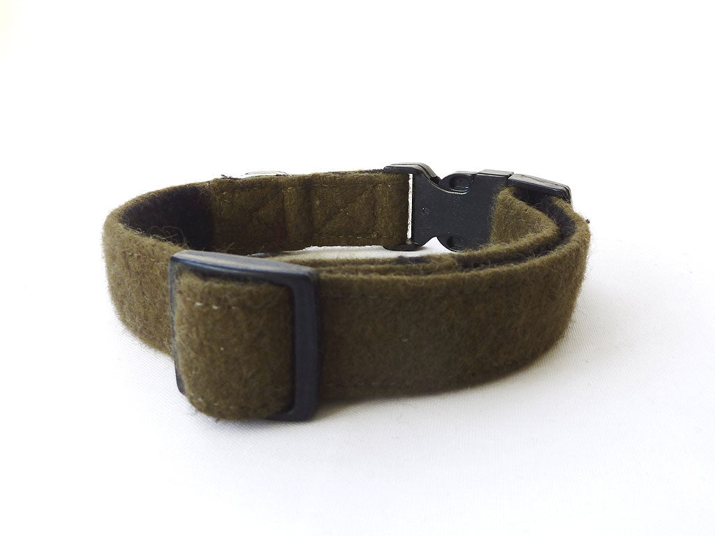 Woollen Dog Collar - Khaki Green