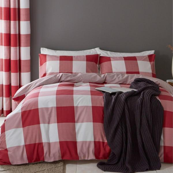 Boston Red Check Duvet Set - CLEARANCE OFFER LIMITED STOCK