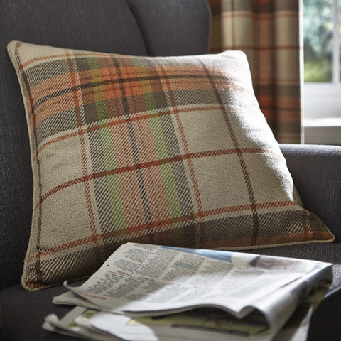 Heritage Check Burnt Orange Cushion Cover