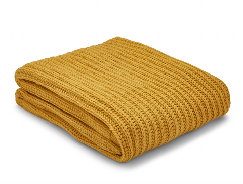Ochre Chunky Knit Throw