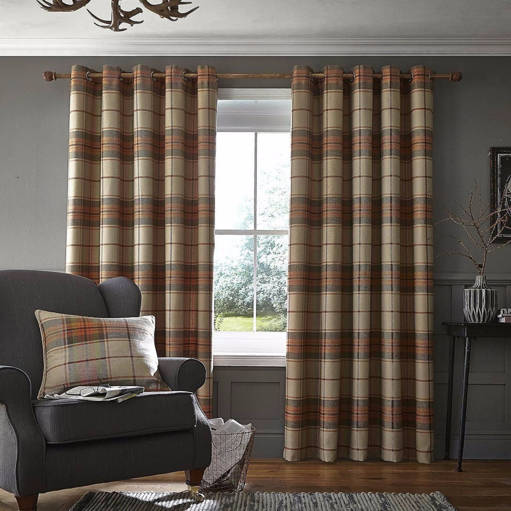 Brushed Heritage Check Burnt Orange Curtains