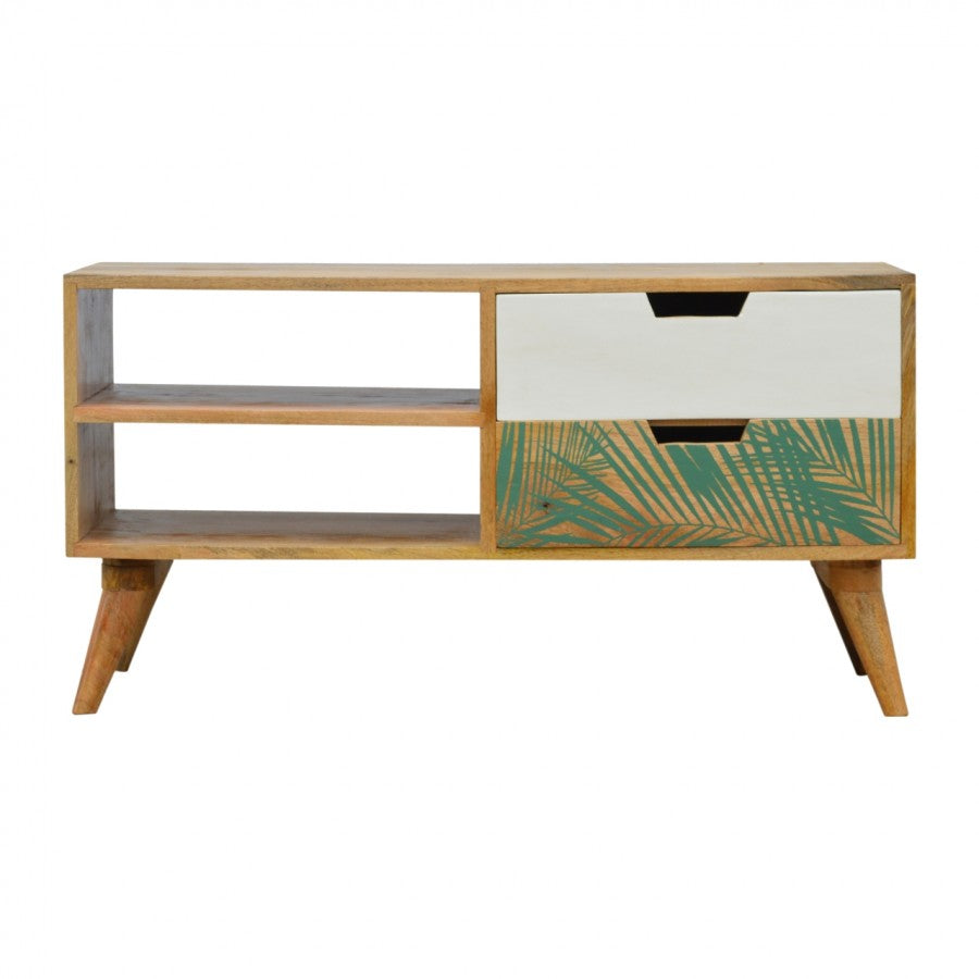 Nordic Style Media Unit with Foliage Leaf Print