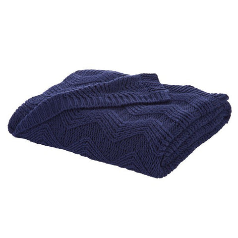 Bianca Soft Knit Throw Navy - 100% Cotton