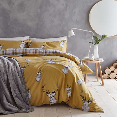 Catherine Lansfield Stag Ochre Duvet Set - NEW DESIGN -