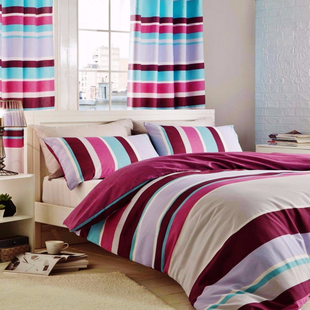 Textured Stripe Multi Duvet Set