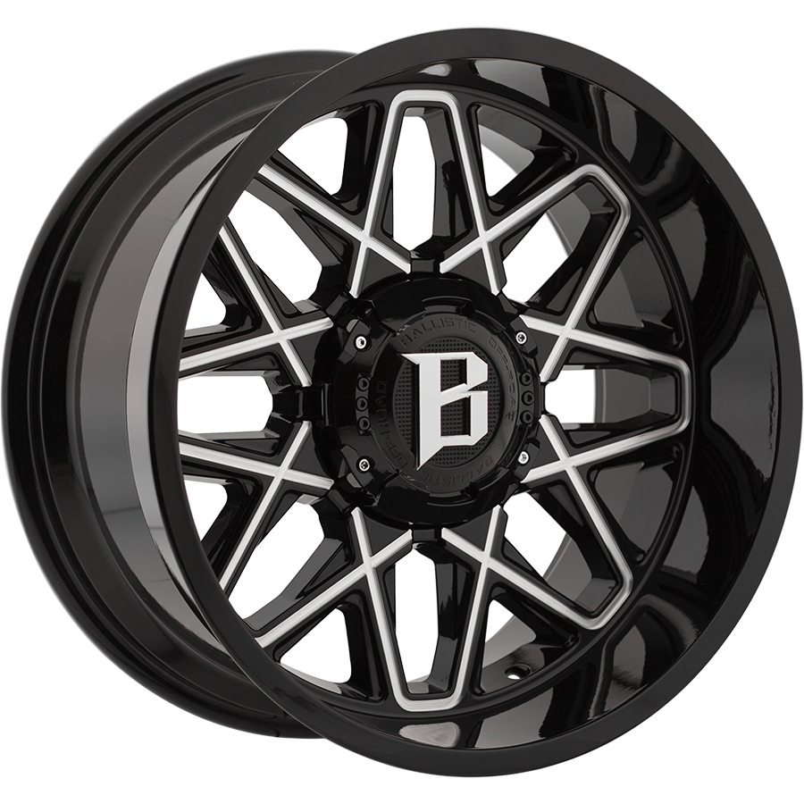 BALLISTIC ATOMIC 20X12 10X114.3/127 OFFSET -44 GLOSS BLACK w/MILLED WINDOWS