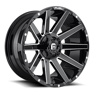 Fuel D615 Contra 22x12 Gloss Black and Milled
