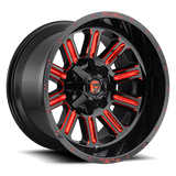 Fuel Hardline D621 22x12 -44 5x114.3(5x4.5)/5x127(5x5) Candy Red
