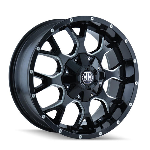 Mayhem 8015 Warrior 22x12 -44 5x127(5x5)/5x139.7(5x5.5) Black and Milled