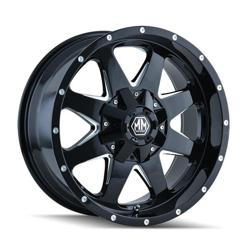 Mayhem 8040 Tank 20x9 -12 8x165.1(8x6.5)/8x170 Black and Milled