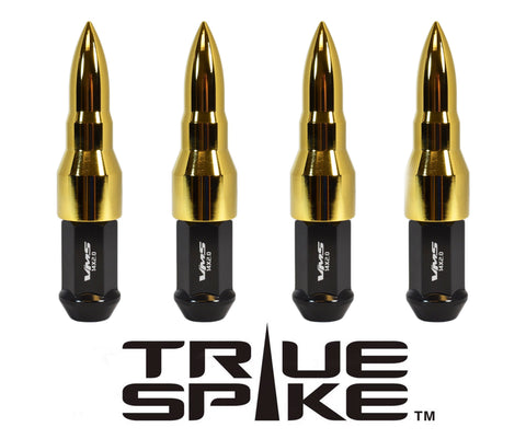 TRUE SPIKE Lug Nut Cap Aluminum -Bullet 25mm Width 73mm Height Tip (4pc Set) LGC027