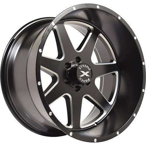 Xtreme Force XF-4 22x12 -44 6x139.7 (6x5.5) Black and Milled