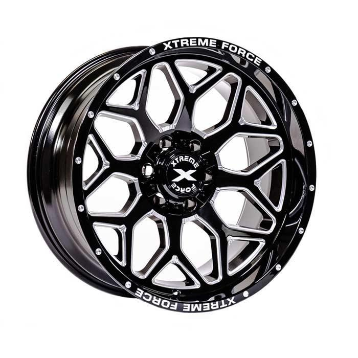 Xtreme Force XF-12 20x10 -25 6x139.7 (6x5.5)/6x135 Black and Milled