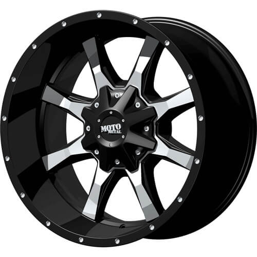 Moto Metal MO970 24x14 -76 5x127 (5x5)/5x139.7 (5x5.5) Black and Machine