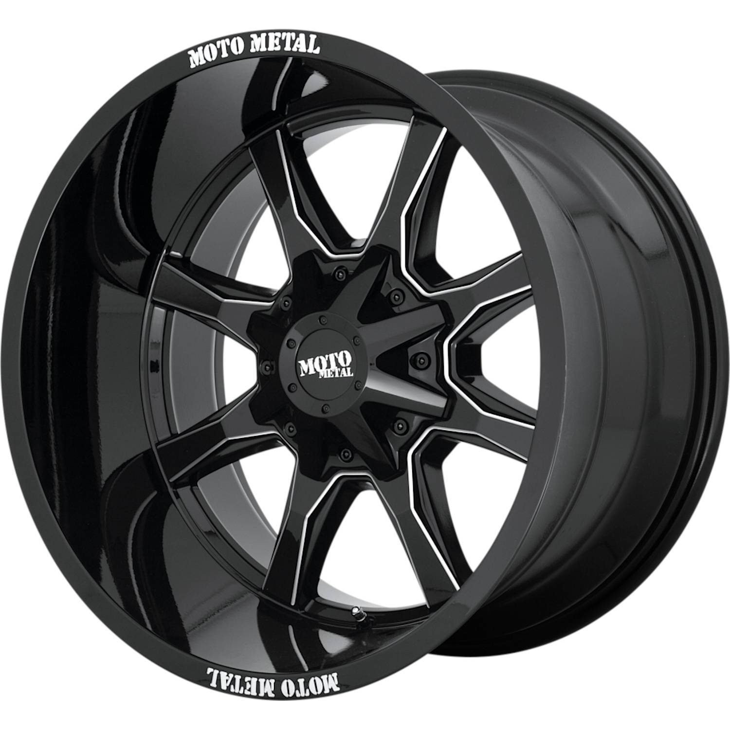Moto Metal MO970 20x10 -18 5x127 (5x5)/5x139.7 (5x5.5) Gloss Black with Milled Spoke Edges