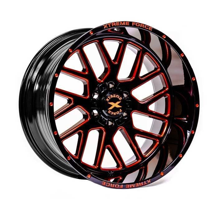 Xtreme Force XF-10 22x12 -51 5x127 (5x5)/5x139.7 (5x5.5) Gloss Black with Red Milled