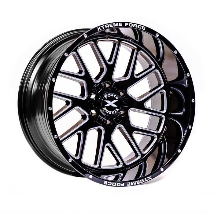 Xtreme Force XF-10 22x12 -51 5x127 (5x5) Black and Milled