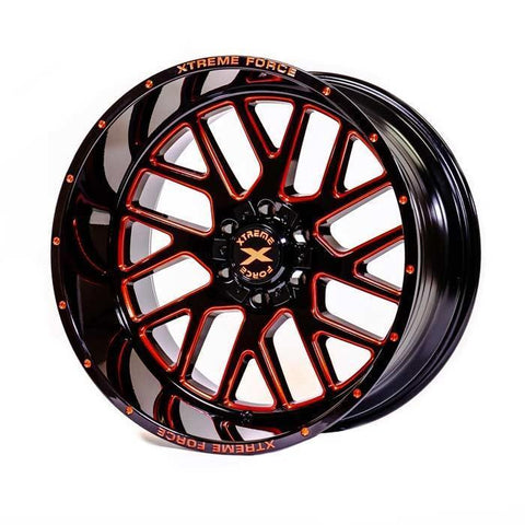 Xtreme Force XF-10 20x10 -25 5x127 (5x5)/5x139.7 (5x5.5) Gloss Black with Red Milled