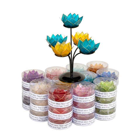 Mini Capiz Lotus Gemstone Pack + 2 Free Stands!