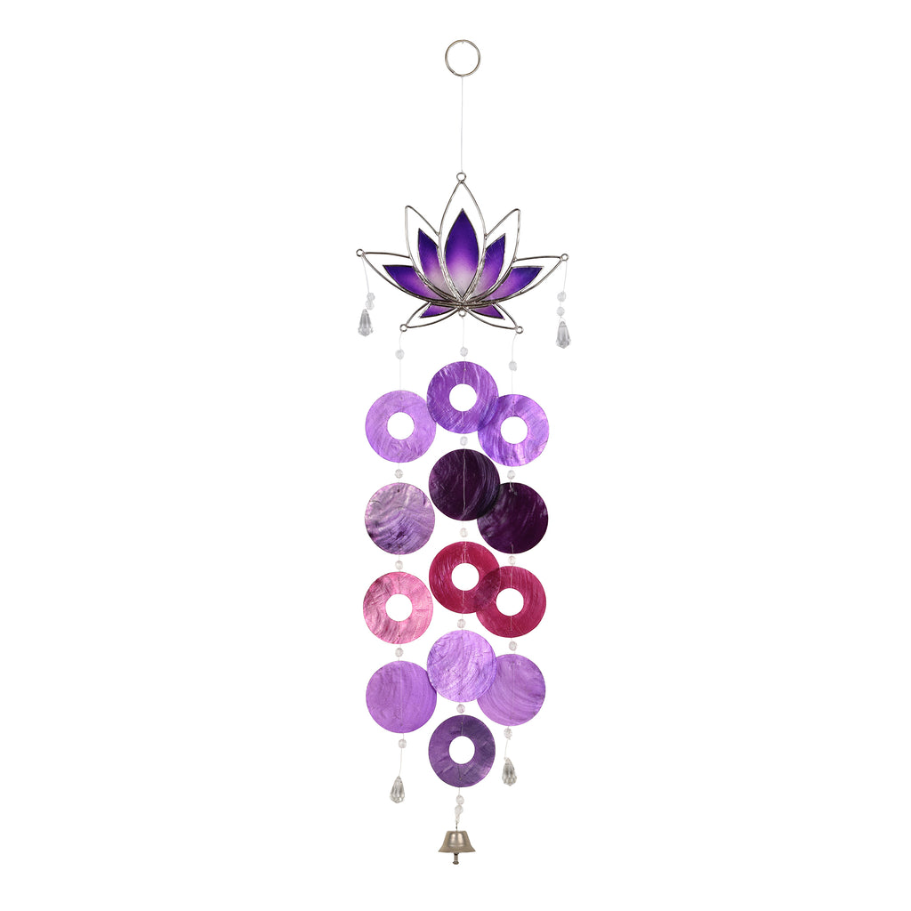 Capiz Lotus Chime - Purple