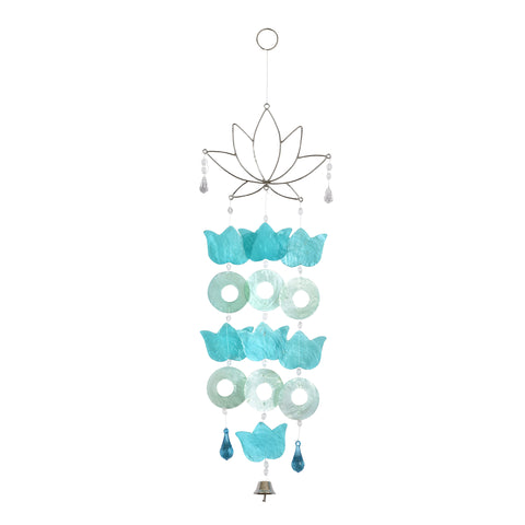 Capiz Lotus Wire Chime - Blue / Green