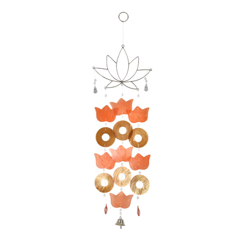 Capiz Lotus Wire Chime - Orange