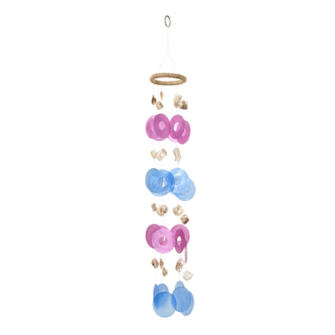 Capiz Chime Round - Pink / Blue