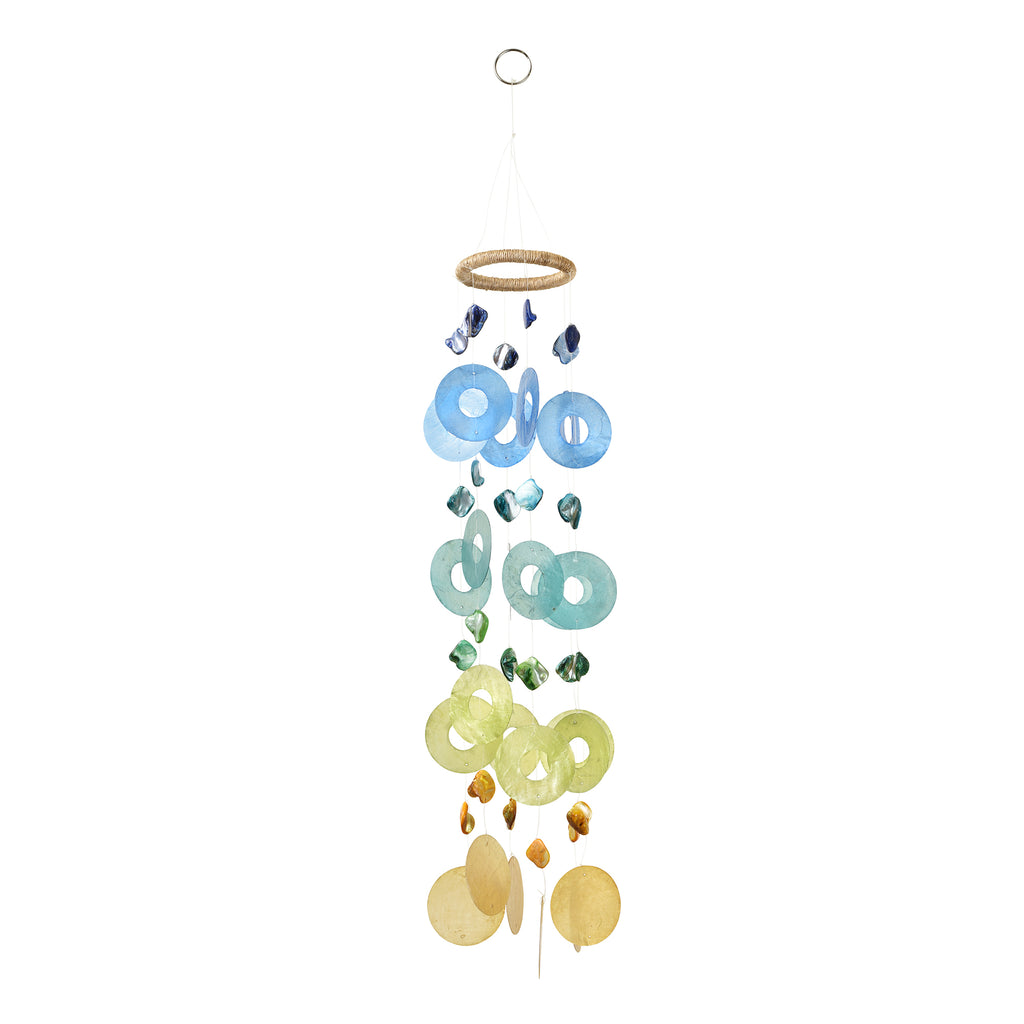 Capiz Chime Round - Blue / Green