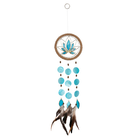 Capiz Lotus Chakra Dreamcatcher - Throat Blue