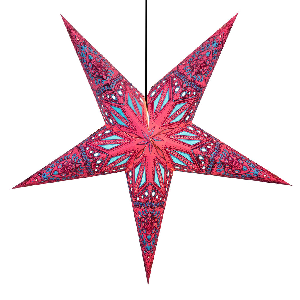 Om Paper Star Lantern - Fuschia Dreams