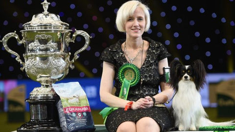 Dylan and his owner Kathleen Roosens, Crufts 2019 Best in Show