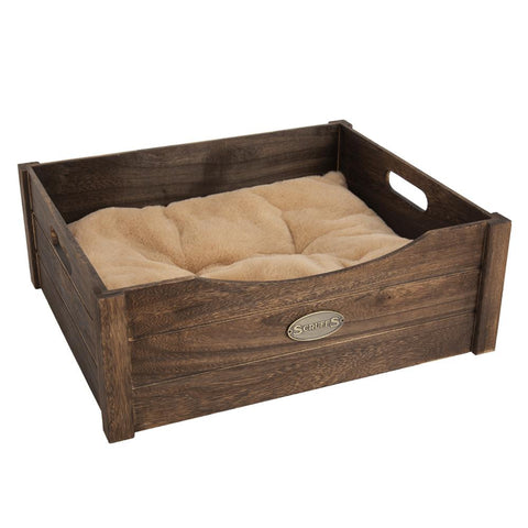 Rustic Wooden Pet Bed - Antique Cat Bed Scruffs®