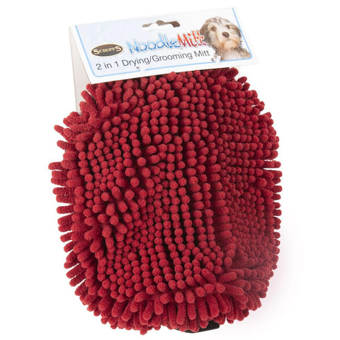 Noodle Dry Mitt - Burgundy Dog Grooming petslovescruffs